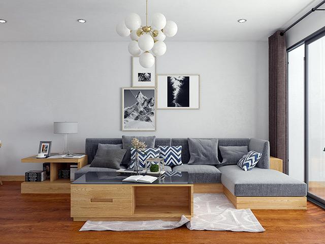 Nội thất gõ sồi nga tự nhiên- Thiết kế không gian phòng khách nhà chị Mai - CC HD Mon