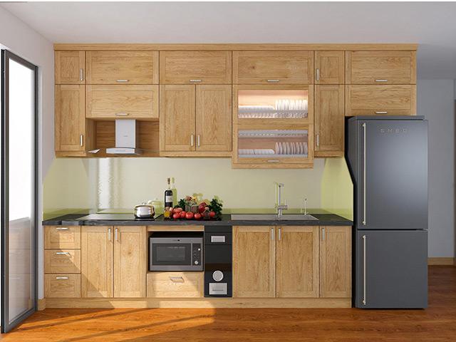 Nội thất gõ sồi nga tự nhiên- Tủ bếp thiết kế tận dụng tối đa không gian diện tích