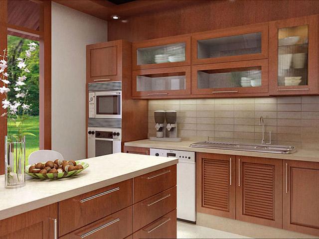 Mẫu tủ bếp gỗ căm xe đẹp với thiết kế hiện đại kèm bàn đảo bếp tiện nghi. Một không gian bếp thoáng đãng, hòa hợp với thiên nhiên khi được bài trí bộ tủ bếp này