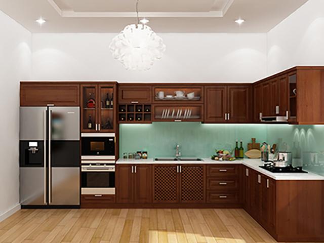 Không gian nhà bếp kết hợp phong cách hiện đại và cổ điển với bộ rủ bếp gỗ căm xe đẹp màu cánh gián sậm sang trọng. Thiết kế công năng tối đa với những phụ kiện - thiết bị bếp hiện đại
