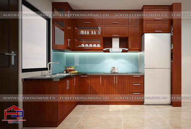 Tủ bếp gỗ xoan đào Hoàng Anh TBXD336