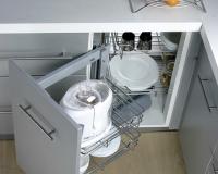 Kệ góc liên hoàn Hafele – phụ kiện tận dụng góc chết tủ bếp dưới hiệu quả