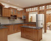 10 mẫu tủ bếp gỗ gõ đỏ đẹp sang trọng từ mọi góc nhìn