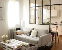 Mẫu vách ngăn kính phòng khách và bếp – giải pháp cho nhà nhỏ