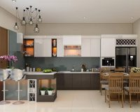 15 mẫu tủ bếp gỗ kính đẹp hoàn hảo ở mọi góc nhìn