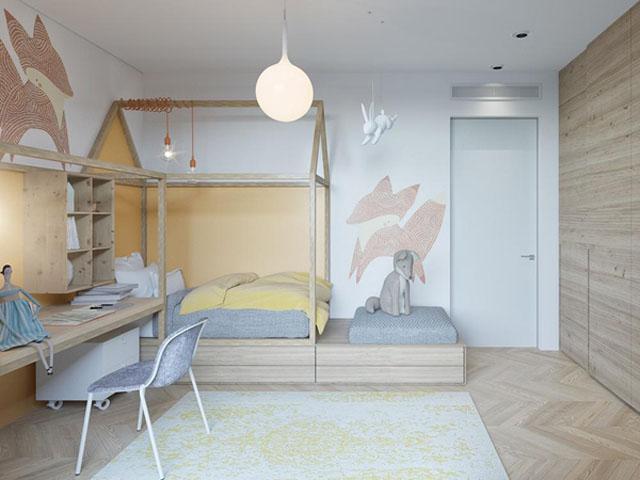 Thiết kế nội thất với giường ngủ, bàn làm việc khá đơn giản trong từng chi tiết cùng màu sắc nhẹ nhàng của gỗ tự nhiên mang lại không gian thoáng và thoải mái cho phòng ngủ