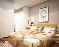 Bản vẽ thiết kế nội thất phòng ngủ 3D và thực tế công trình đã thi công tại Hpro
