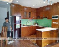 Công trình tủ bếp gỗ sồi mỹ nhà anh Đại – P1209 tòa A3 An Bình City Phạm Văn Đồng
