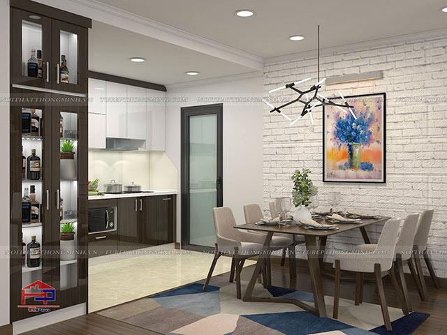 Thiết kế nội thất phòng bếp nhà chị Thắng