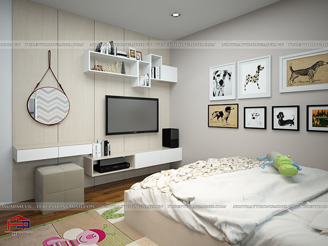 Thiết kế nội thất phòng ngủ cho bé gái nhà anh Hoàng - view 1