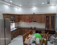 Công trình tủ bếp gỗ sồi mỹ nhà anh Quyết – Thủy Nguyên, Hải Phòng