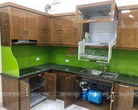 Công trình tủ bếp gỗ sồi mỹ nhà anh Viễn – Thôn Lời, Đặng Xá, Gia Lâm