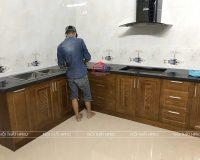 Công trình tủ bếp gỗ sồi mỹ nhà chị Thanh – Tiên Cát, Tp. Việt Trì