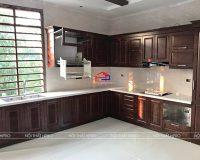 Công trình tủ bếp inox cánh gỗ sồi mỹ sơn màu óc chó nhà anh Nam – Tiên Du, Phú Thọ