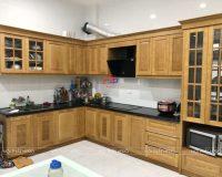 Công trình tủ bếp inox cánh gỗ sồi nga nhà chị Lan – Dương Quảng Hàm